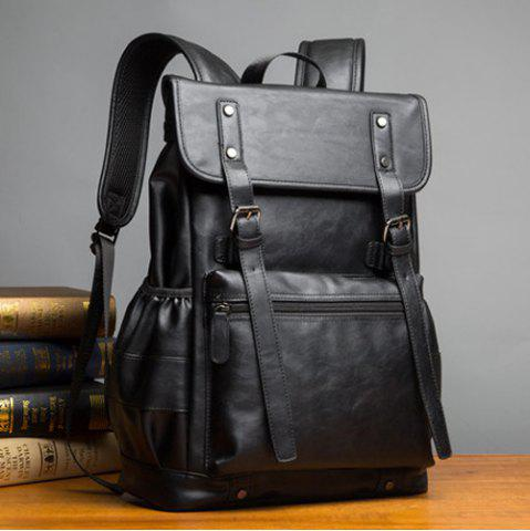 Shop Buckle Straps Detail Faux Leather Backpack - BLACK  Mobile