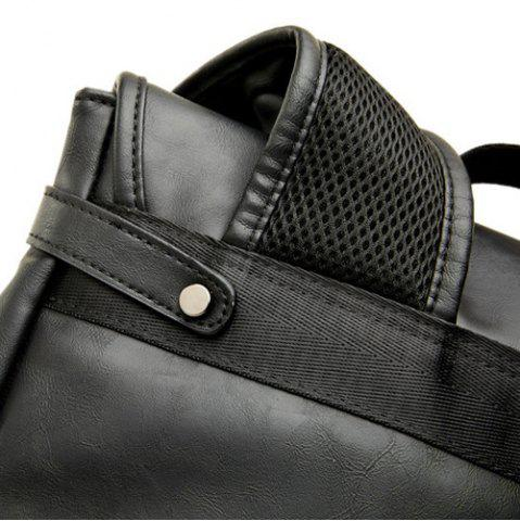 Sale Buckle Straps Detail Faux Leather Backpack - BLACK  Mobile