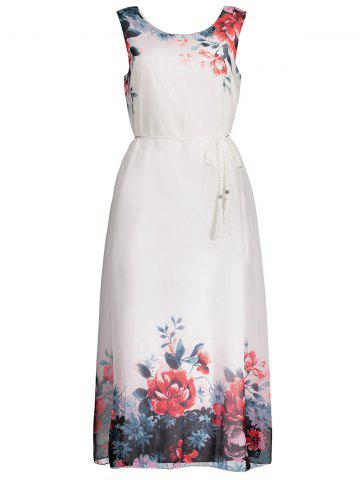 Chiffon Sleeveless Floral Maxi Wedding Guest Dress - Red - One Size