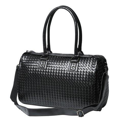 New Woven Faux Leather Weekend Bag - BLACK  Mobile