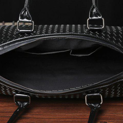 Latest Woven Faux Leather Weekend Bag - BLACK  Mobile