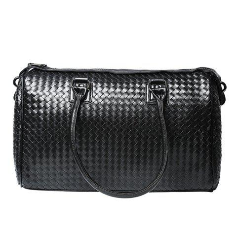 Chic Woven Faux Leather Weekend Bag - BLACK  Mobile