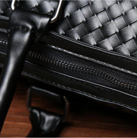 Hot Woven Faux Leather Weekend Bag - BLACK  Mobile