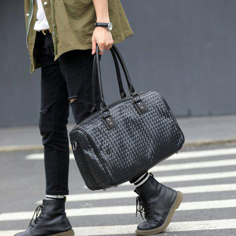 Best Woven Faux Leather Weekend Bag - BLACK  Mobile