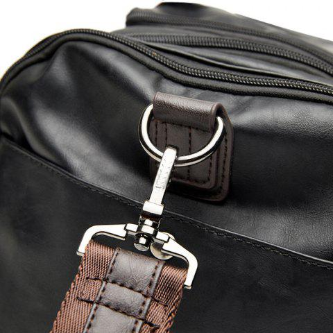 Latest Zips Detail Faux Leather Weekend Bag - BLACK  Mobile