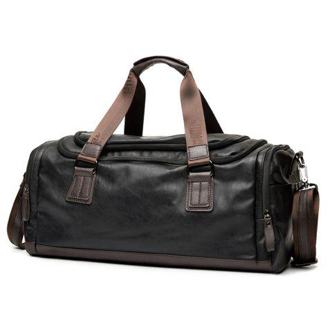 Best Zips Detail Faux Leather Weekend Bag - BLACK  Mobile
