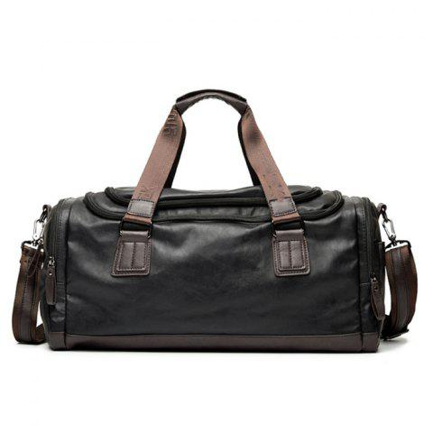 Shops Zips Detail Faux Leather Weekend Bag - BLACK  Mobile