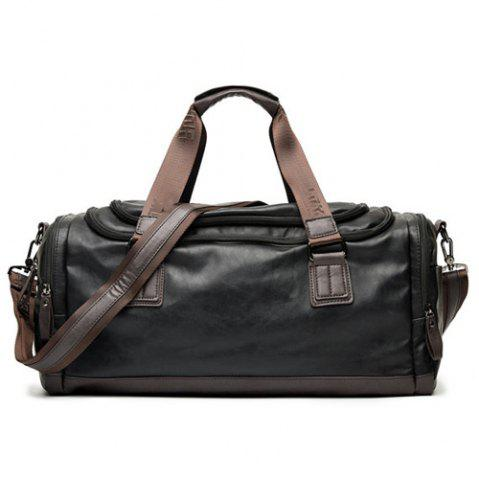 Chic Zips Detail Faux Leather Weekend Bag - BLACK  Mobile