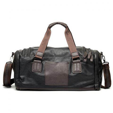 Sale Zips Detail Faux Leather Weekend Bag - BLACK  Mobile