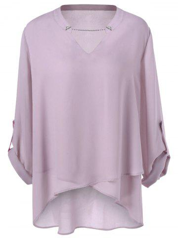 Store Plus Size Split-Neck Overlap Blouse PALE PINKISH GREY 4XL