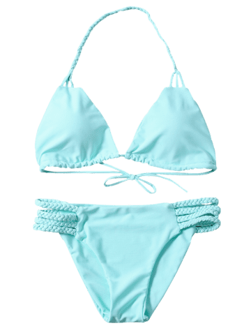 Best Braided Side Strap Plunge Bikini - L TURQUOISE Mobile