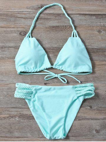 Buy Braided Side Strap Plunge Bikini - L TURQUOISE Mobile