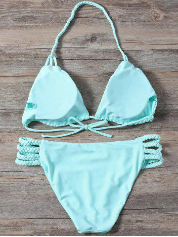 Best Braided Side Strap Plunge Bikini - M TURQUOISE Mobile