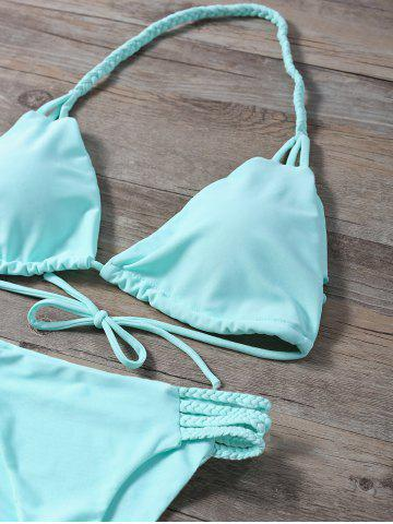Affordable Braided Side Strap Plunge Bikini - M TURQUOISE Mobile