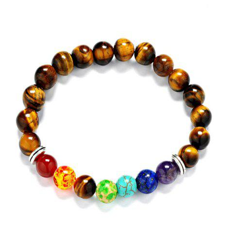 Faux Tiger-Eye Multicolored Beaded Bracelet - Multicolor - Style F