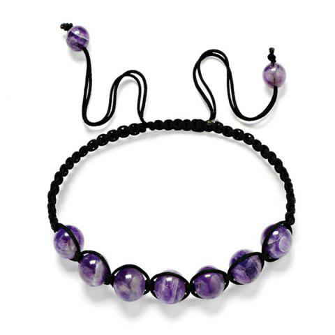 Online Artificial Amethyst Beaded Braid Bracelet - PURPLE  Mobile