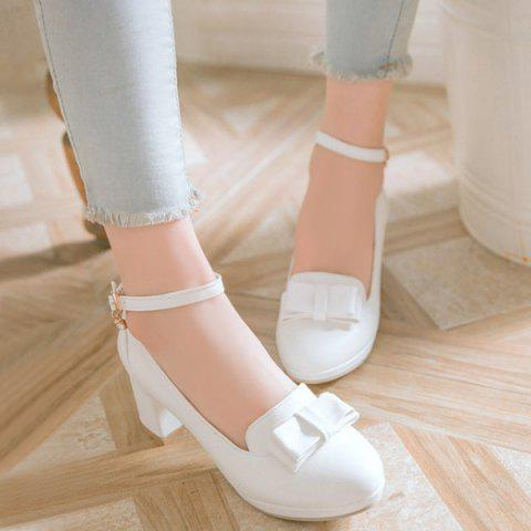 Hot Bowknot Ankle Strap Pumps WHITE 39