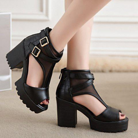 Outfit Mesh Peep Toe Sandals - 38 BLACK Mobile