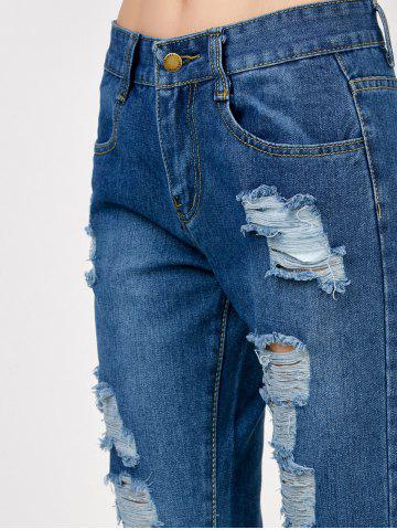 Hot High Rise Broken Hole Jeans - S BLUE Mobile