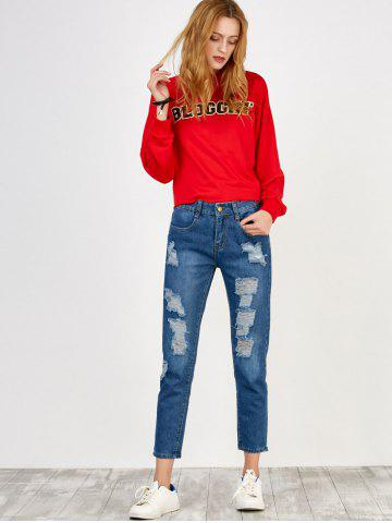 Buy High Rise Broken Hole Jeans - S BLUE Mobile