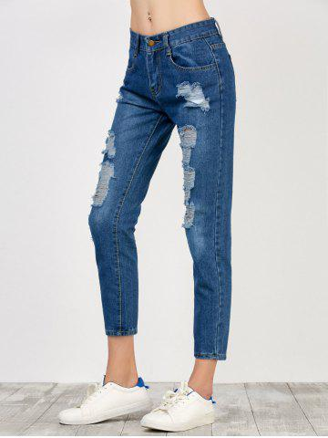 New High Rise Broken Hole Jeans - S BLUE Mobile