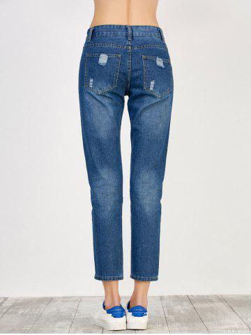 Trendy High Rise Broken Hole Jeans - S BLUE Mobile