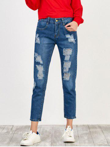 Trendy High Rise Broken Hole Jeans BLUE XL