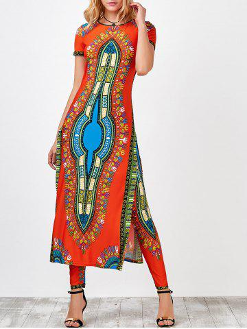 Trendy High Slit Africa Print Robe Dress with Pants JACINTH L