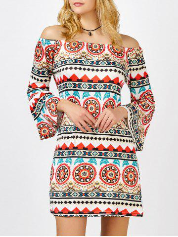 Outfits Off The Shoulder Printed Bell Sleeve Shift Aztec Print Dress COLORMIX XL