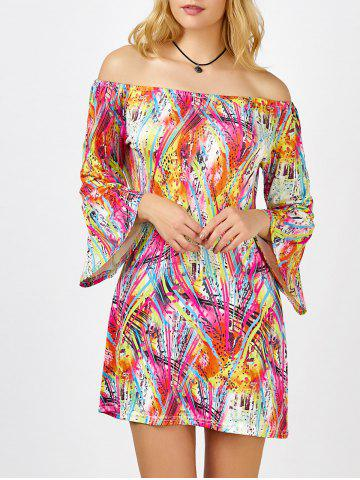 Colorful Printed Off The Shoulder Mini Dress - Colormix - Xl