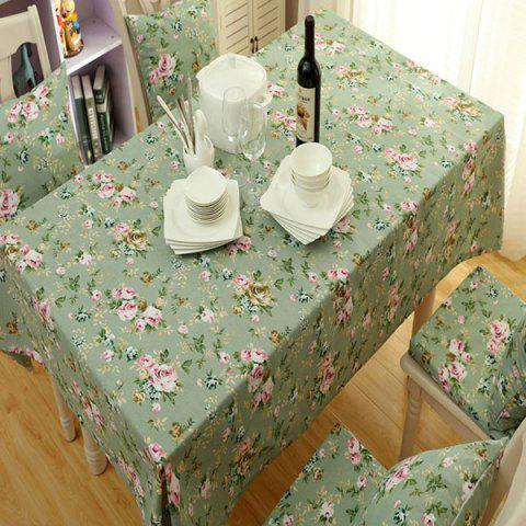 Affordable Countryside Floral Print Waterproof Oilproof Table Cloth GREEN 140*140CM