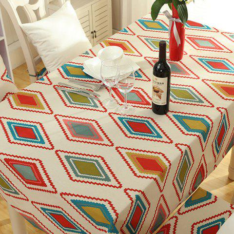 Buy Thicken Rhombus Pattern Washable Table Cloth COLORMIX 140*140CM
