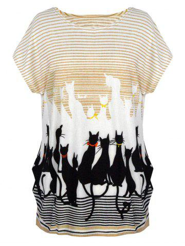 Cute Graphic Allover Print Oversized Tee - Off-white - One Size