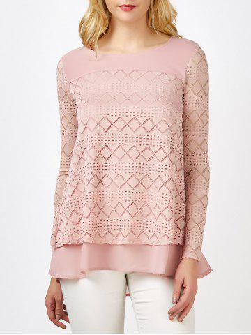Trendy Lace Crochet Layered Blouse - M PINK Mobile
