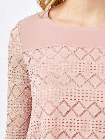 Online Lace Crochet Layered Blouse - M PINK Mobile