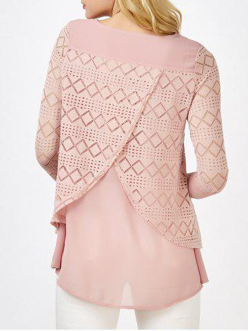 Trendy Lace Crochet Layered Blouse PINK L