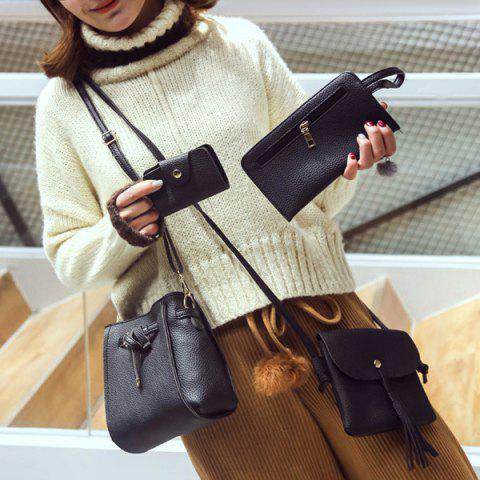 Outfit Buckle Strap Detail 4 Piece Crossbody Bag Set