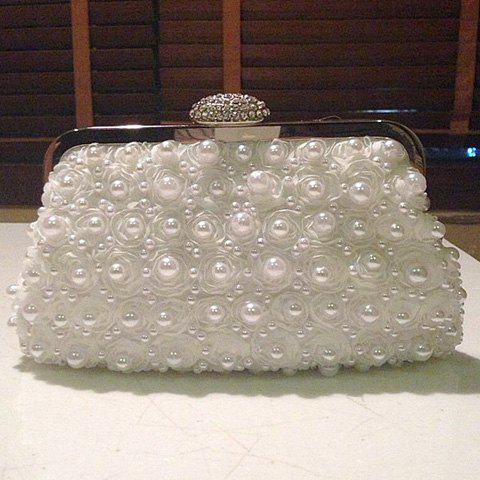 Affordable Petals Beaded Bags - WHITE  Mobile