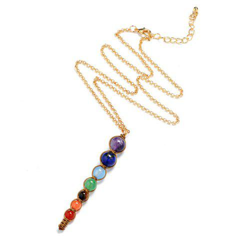 Beads Natural Stone Pendant Necklace - Multicolor
