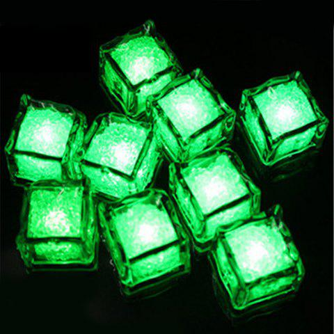 Unique Creative LED Light Up Flashing Ice Cube GREEN