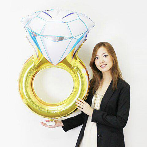 Fashion Aluminium Foil Diamod Ring Shape Balloon YELLOW
