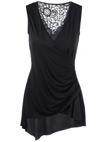 Trendy Sleeveless Lace Trim Asymmetrical Surplice Blouse