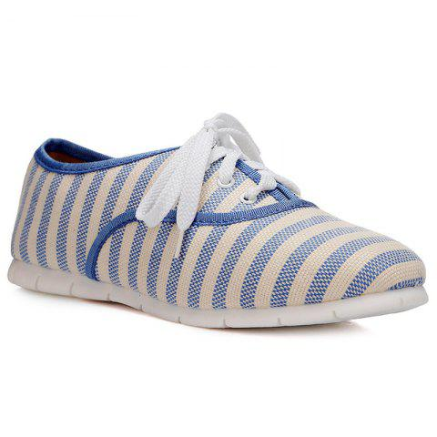 Cheap Canvas Striped Flat Shoes