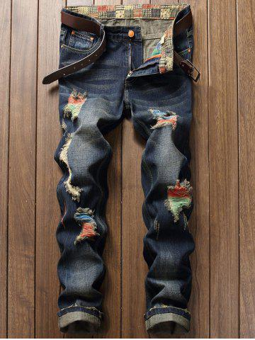 Zipper Fly Distressed Cuffed Jeans - Deep Blue