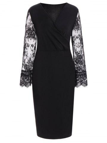 Best Lace Insert Long Sleeve Plus Size Surplice Dress BLACK 4XL