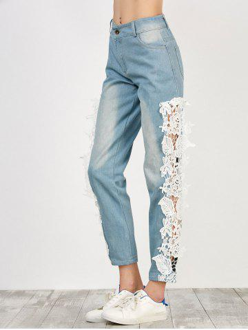 Chic Floral Lace Panel Jeans with Pockets - M WHITE Mobile