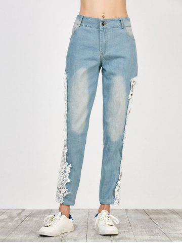 Outfit Floral Lace Panel Jeans with Pockets - M WHITE Mobile