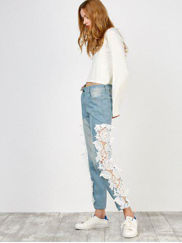 Buy Floral Lace Panel Jeans with Pockets - M WHITE Mobile