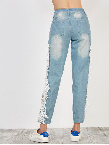 Store Floral Lace Panel Jeans with Pockets - M WHITE Mobile