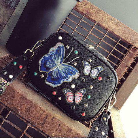 Outfits Rivet Butterfly Embroidery Crossbody Bag BLACK
